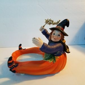 Partylite Pumpkin Witch Candle Holder New